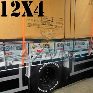 Lona: 12,0 x 4,0m Encerado Premium Coton RipStop de Algodão Caqui Caminhão Carreta 2 eixos + 70 metros de Corda 8mm de brinde!