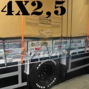 Lona 4,0 x 2,5m Encerado Premium Cotton RipStop de Algodão Caqui para Caminhão + 2 Catracas de 5m x 25mm + 10m Corda 8mm de brinde!