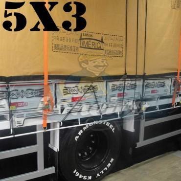 Lona 5,0 x 3,0m Encerado Premium Cotton RipStop de Algodão Caqui para Caminhão + 30 metros de Corda 8mm de brinde!