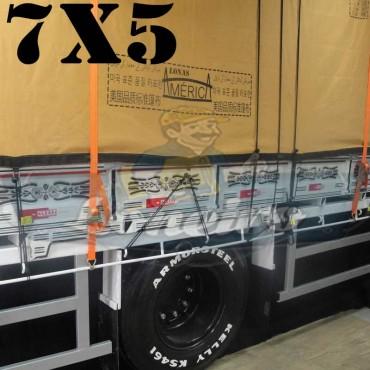 Lona 7,0 x 5,0m Encerado Premium Cotton RipStop de Algodão Caqui para Caminhão + 50 metros de Corda 8mm de brinde!