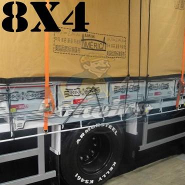 Lona 8,0 x 4,0m Encerado Premium Cotton RipStop de Algodão Caqui para Caminhão + 40 metros de Corda 8mm de brinde!