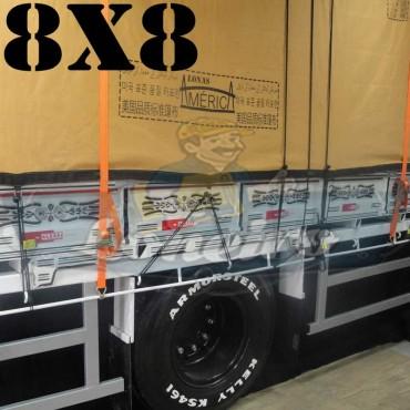 Lona 8,0 x 8,0m Encerado Premium Cotton RipStop de Algodão Caqui para Caminhão + 80 metros de Corda 8mm de brinde!