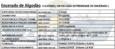 ENCERADO ALGODÃO C4 ESPECIFICAÇÃO