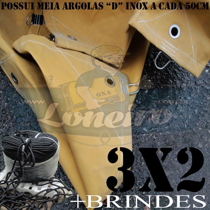 ENCERADO CAMINHÃO 3X2 COM MEIA ARGOLA D INOX A CADA 50CM.