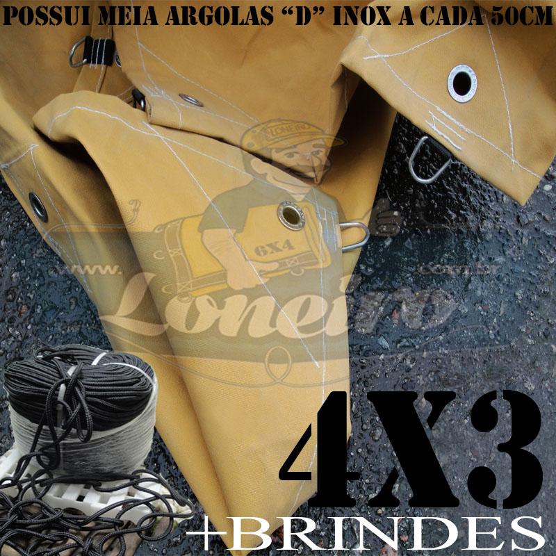 ENCERADO CAMINHÃO 4X3 COM MEIA ARGOLA D INOX A CADA 50CM.