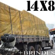 Lona: 14,0 x 8,0m Encerado para Caminhão +Ilhoses + 150 metros de Corda preta 10mm para amarrar carga de brinde!