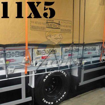 Lona: 11,0 x 5,0m Encerado Premium Coton RipStop de Algodão Caqui para Caminhão + 80 metros de Corda 8mm de brinde!