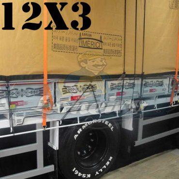"""Lona: 12,0 x 3,0m Encerado Premium Coton RipStop de Algodão Caqui para Caminhão com argolas """"D"""" a cada 1 metro"""