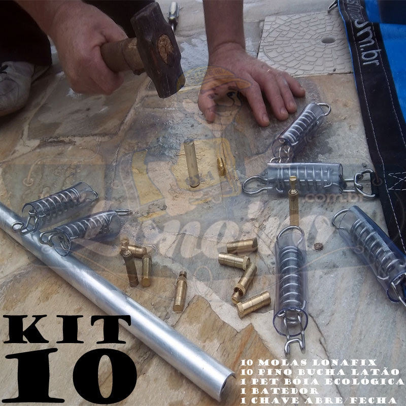 Instalação Capa Piscina KIT 10 molas, 10 pinos + 1 Batedor 1 Chave 1 Bóia