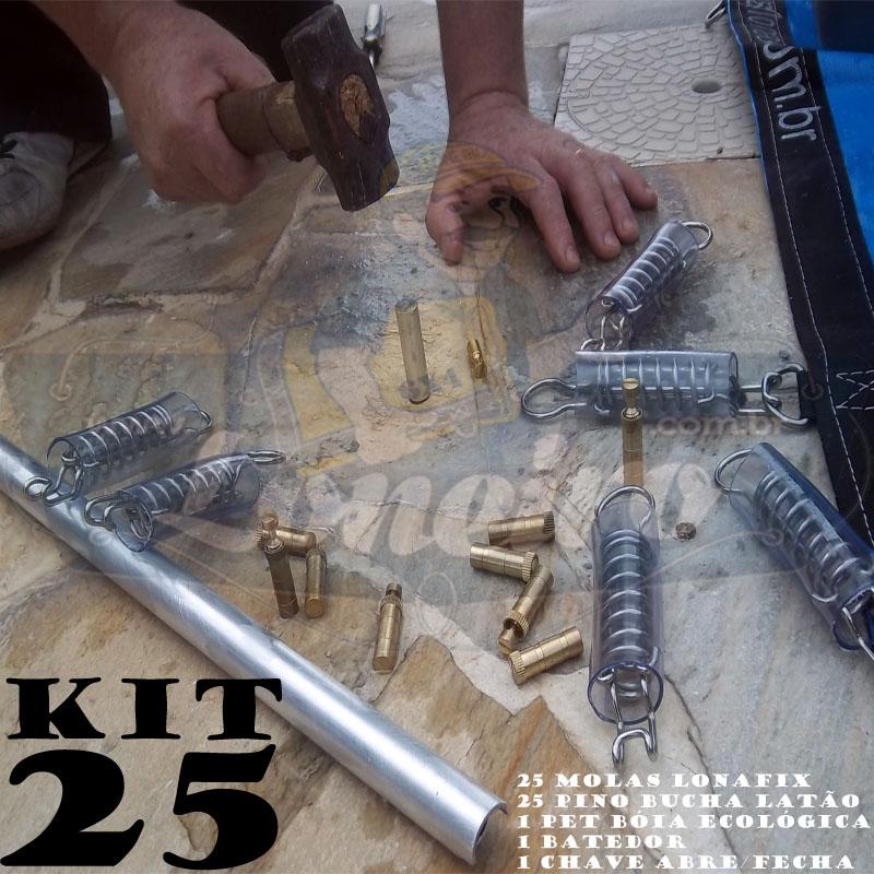 Instalação Capa Piscina KIT 25 molas, 25 pinos + 1 Batedor 1 Chave 1 Bóia