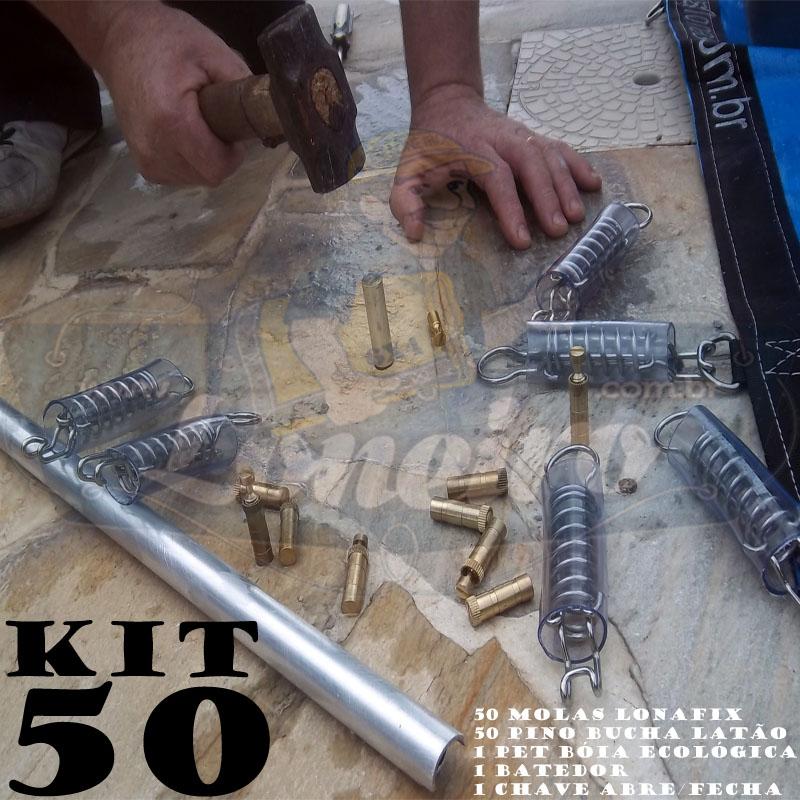 Instalação Capa Piscina KIT 50 molas, 50 pinos + 1 Batedor 1 Chave 1 Bóia