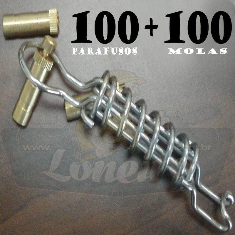 KIT:: 100 Parafusos Nickel LonaFix e 100 Molas Aço Inox + Batedor e Chave de Brinde!