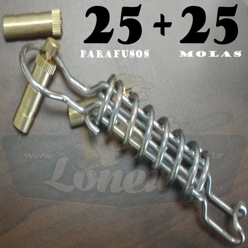 KIT: 25 Parafusos Nickel LonaFix e 25 Molas Aço Inox + Batedor e Chave de Brinde