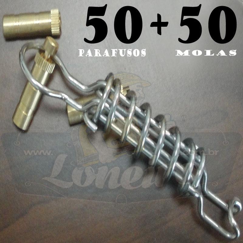 KIT: 50 Parafusos Nickel LonaFix e 50 Molas Aço Inox + Batedor e Chave de Brinde
