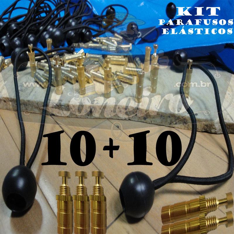 KIT: 10 Parafusos Latão LonaFix e 10 Elásticos Bola 30cm