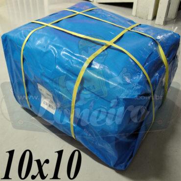 Lona: 10,0 x 10,0m Azul 300 Micras para Telhado, Barraca, Cobertura e Proteção Multi-Uso + 40 Elásticos LonaFlex 30cm
