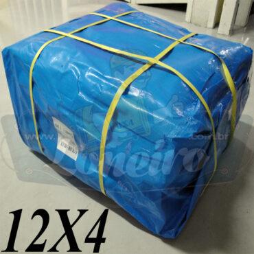 Lona: 12,0 x 4,0m Azul 300 Micras Impermeável para Telhado, Barraca, Cobertura e Proteção Multi-Uso com ilhoses a cada 1 metro