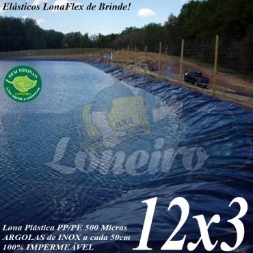Lona para Lago Tanque de Peixes PP/PE: 12,0 x 3,0m Cinza Chumbo / Preta impermeável e atóxica para Lagos Artificiais e Armazenagem de Água
