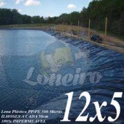Lona para Lago Tanque de Peixes PP/PE: 12,0 x 5,0m Azul / Cinza para Lagos Artificiais, Reservatórios, Poço e Armazenagem de Água