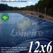 Lona para Lago Tanque de Peixes PP/PE: 12,0 x 6,0m Cinza Chumbo / Preta impermeável e atóxica para Lagos Artificiais e Armazenagem de Água
