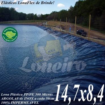 Lona para Lago Tanque de Peixes PP/PE: 14,7 x 8,4m Azul / Cinza impermeável e atóxica para Lagos Artificiais e Armazenagem de Água