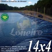 Lona para Lago Tanque de Peixes PP/PE: 14,0 x 4,0m Cinza Chumbo / Preta impermeável e atóxica para Lagos Artificiais e Armazenagem de Água