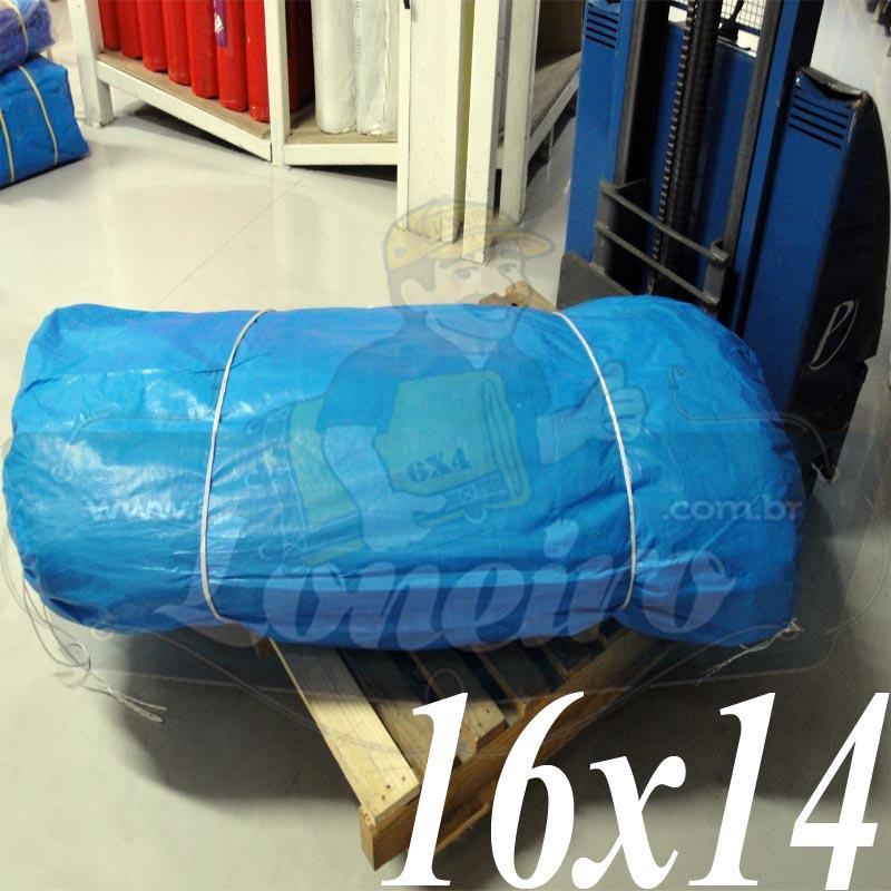 Lona: 16,0 x 14,0m Azul 300 Micras para Telhado, Barraca, Cobertura e Proteção Multi-Uso + 60 Elásticos LonaFlex 30cm