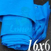 Lona: 16,0 x 6,0m Azul 300 Micras com ilhoses a cada 1 metro + 44 Elásticos LonaFlex 30cm de brinde!