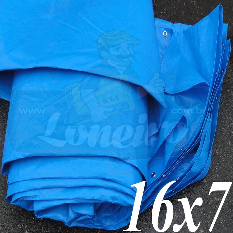 Lona: 16,0 x 7,0m Azul 300 Micras com ilhoses a cada 1 metro + 46 Elásticos LonaFlex 30cm de brinde!