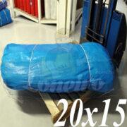 Lona: 20,0 x 15,0m Azul 300 Micras Impermeável para proteção cobertura impermeabilização com bainha ilhoses a cada 1 metro