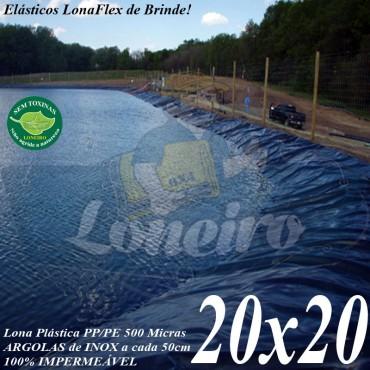 Lona para Lago Tanque de Peixes PP/PE: 20,0 x 20,0m Azul de um lado e Cinza Chumbo do outro - Lagos Artificiais e Armazenagem de Água
