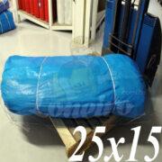Lona: 25,0 x 15,0m Azul 300 Micras Impermeável para proteção cobertura impermeabilização com bainha ilhoses a cada 1 metro