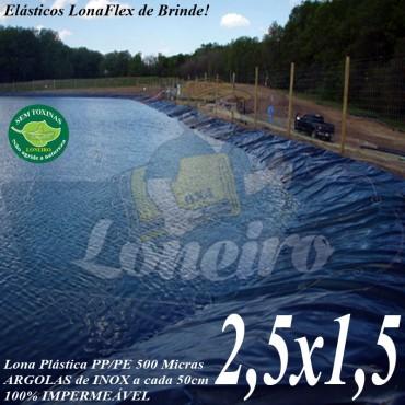 Lona para Lago Ornamental PP/PE 2,5 x 1,5m Azul / Cinza Chumbo Impermeável Atóxica para Tanque de Peixes, Lagos Artificiais e Armazenagem de Água