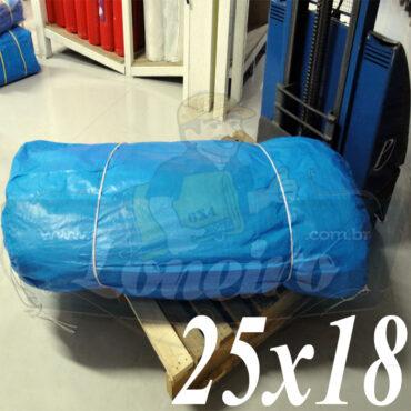 Lona: 25,0 x 18,0m Azul 300 Micras Impermeável para proteção cobertura impermeabilização com bainha ilhoses a cada 1 metro