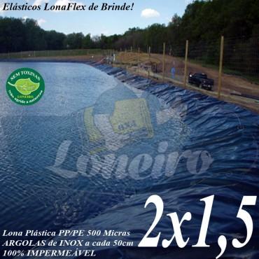 Lona para Lago Ornamental PP/PE 2,0 x 1,5m Azul / Cinza Chumbo Impermeável Atóxica Lago Arficial Jardim Casa e Armazenagem de Água