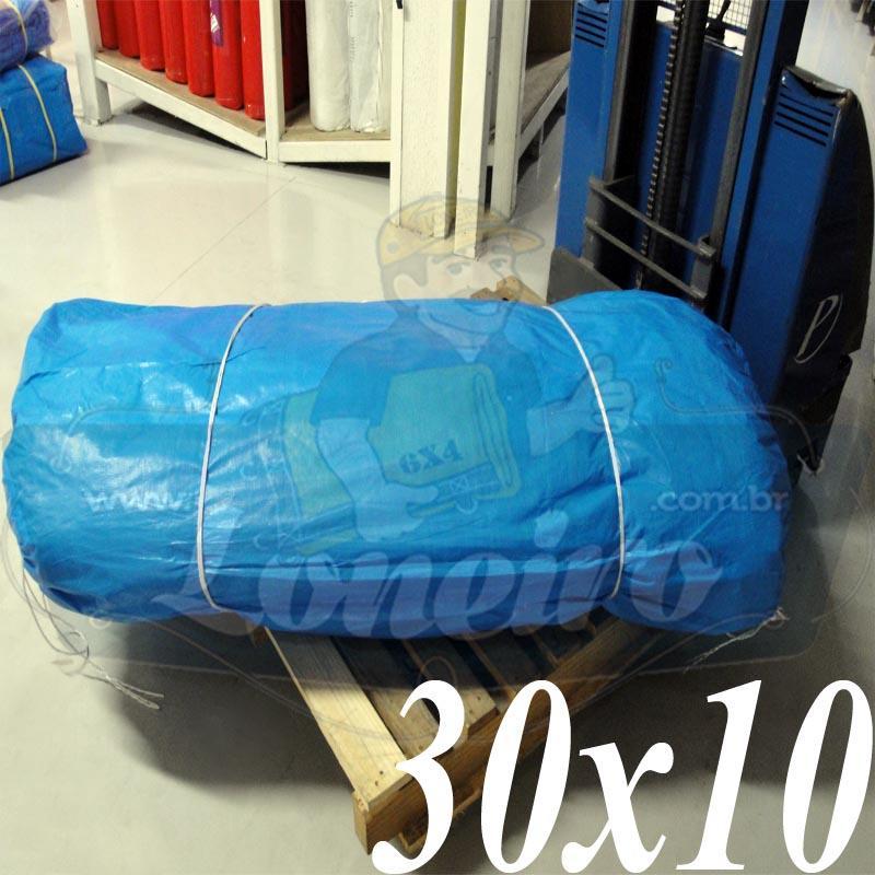 Lona: 30,0 x 10,0m Azul 300 Micras com ilhos a cada 1 metro + 80 Elásticos LonaFlex 30cm de brinde!