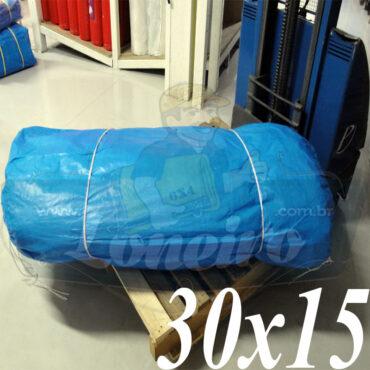 Lona: 30,0 x 15,0m Azul 300 Micras Impermeável para proteção cobertura impermeabilização com bainha ilhoses a cada 1 metro