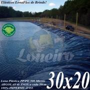 Lona para Lago Tanque de Peixes PP/PE: 30,0 x 20,0m Cinza Chumbo / Azul - Lagos Artificiais Gigantes e Armazenagem de Água