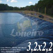 Lona para Lago Ornamental PP/PE 3,2 x 2,2m Azul / Cinza para Lagos Artificiais de Peixes Tanques Jardim Armazenagem de Água e Cisternas