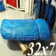 Lona: 32,0 x 7,0m Azul 300 Micras Impermeável para proteção cobertura impermeabilização com bainha ilhoses a cada 1 metro