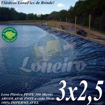 Lona para Lago Ornamental PP/PE 3,0 x 2,5m Azul / Cinza Chumbo impermeável e atóxica para Tanque de Peixes, Lagos Artificiais e Armazenagem de Água