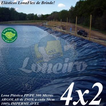 Lona para Lago Ornamental PP/PE 4,0 x 2,0m Prateada / Branca 100% impermeável ideal para Tanque de Peixes Lagos Artificiais e Armazenagem de Água