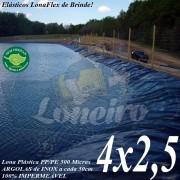 Lona para Lago Ornamental PP/PE 4,0 x 2,5m Azul / Cinza impermeável e atóxica para Tanque de Peixes, Lagos Artificiais e Armazenagem de Água