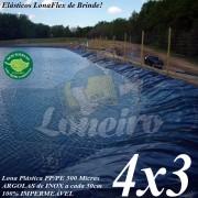 Lona para Lago Ornamental PP/PE 4,0 x 3,0m Azul / Cinza Chumbo para Tanque de Peixes, Lagos Artificiais e Armazenagem de Água