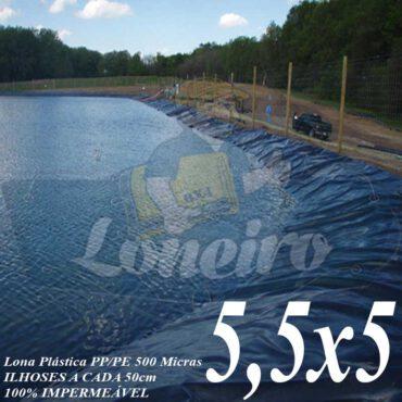 Lona para Lago Ornamental PP/PE 5,5 x 5,0m Azul / Cinza para Lagos Artificiais de Peixes Tanques Jardim Armazenagem de Água e Cisternas