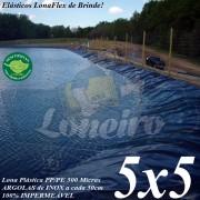 Lona para Lago Ornamental PP/PE 5,0 x 5,0m Azul / Cinza para Lagos Artificiais de Peixes Tanques Jardim Armazenagem de Água e Cisternas