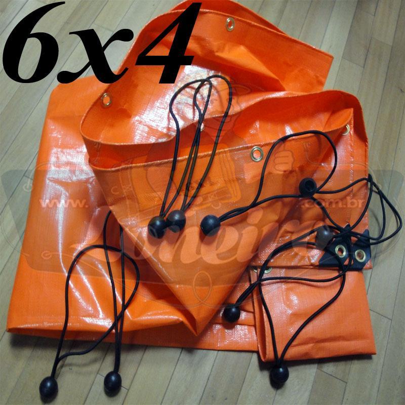 Lona 6,0 x 4,0m Laranja 330 Micras com Ilhoses a cada 50cm + 40 Elásticos LonaFlex 20cm Cobertura Proteção Reforçada