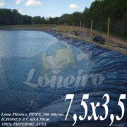 Lona para Lago Ornamental PP/PE 7,5 x 3,5m Azul / Cinza para Lagos Artificiais de Peixes Tanques Jardim Armazenagem de Água e Cisternas