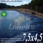 Lona para Lago Tanque de Peixes PP/PE 7,5 x 4,5m Cinza Chumbo / Preta impermeável e atóxica para Lagos Artificiais e Armazenagem de Água