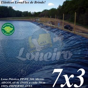 Lona para Lago Tanque de Peixes PP/PE 7,0 x 3,0m Cinza Chumbo / Preta impermeável e atóxica para Lagos Artificiais e Armazenagem de Água